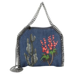 Stella McCartney  Falabella Fold Over Crossbody Bag Embroidered Denim Mini