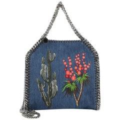 Stella McCartney Falabella Fold Over Crossbody Bag Embroidered Denim Mini