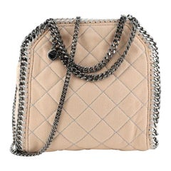 Stella McCartney Falabella Fold Over Crossbody Bag Quilted Shaggy Deer Mini