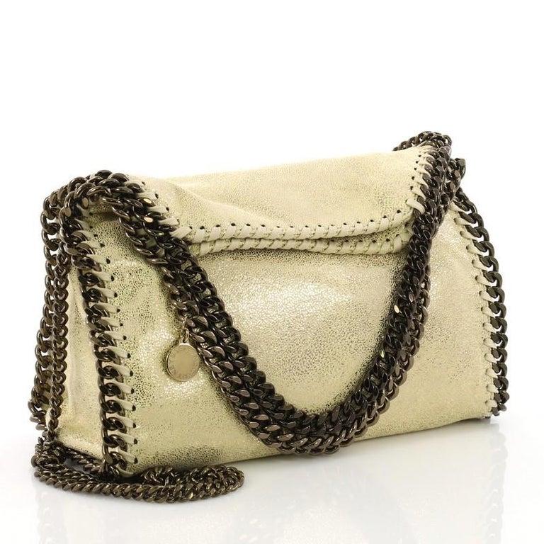 08f39e4325c6 Beige Stella McCartney Falabella Fold Over Crossbody Bag Shaggy Deer Mini  For Sale