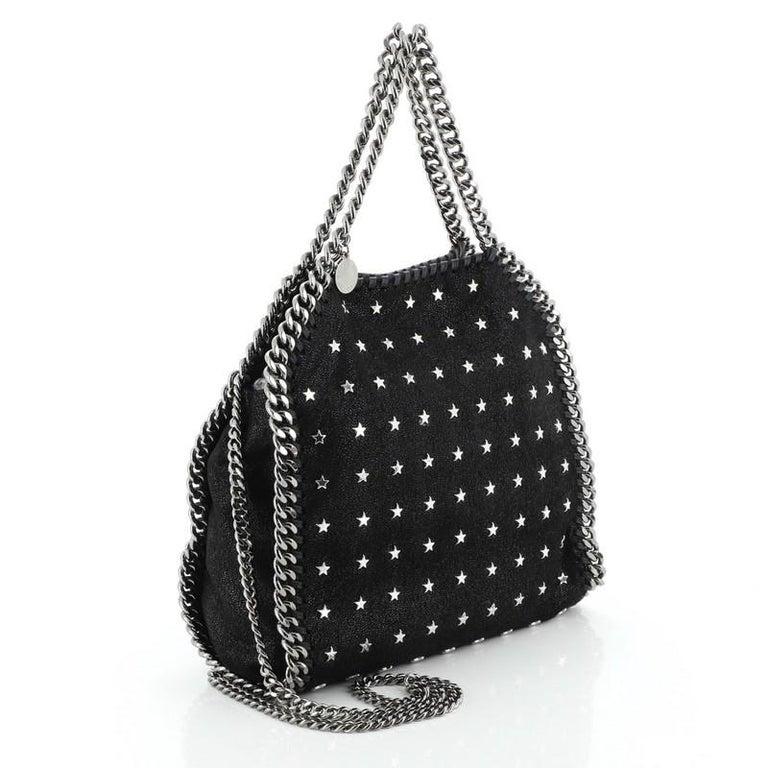 Black Stella McCartney Falabella Fold Over Crossbody Bag Studded Shaggy Deer Mini For Sale