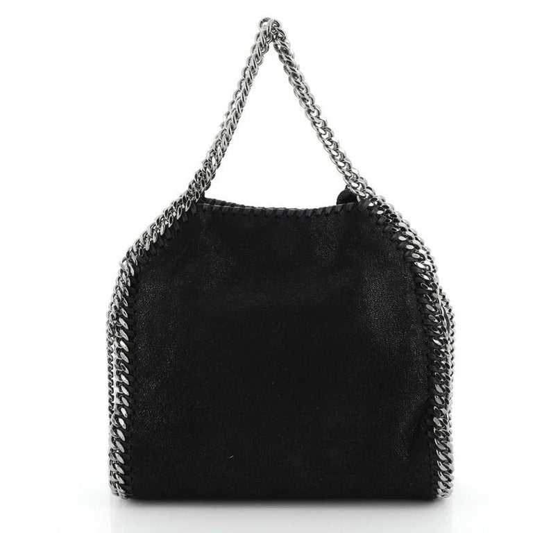 Stella McCartney Falabella Fold Over Crossbody Bag Studded Shaggy Deer Mini In Good Condition For Sale In New York, NY