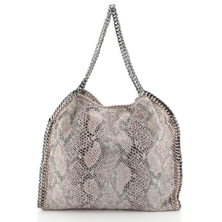 Gray Stella McCartney Falabella Tote Printed Canvas Small
