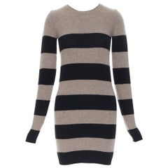 STELLA MCCARTNEY fleece wool cashmere blend brown striped sewater dress IT36 XS