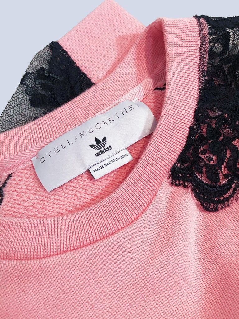 Pink Stella McCartney For Adidas Originals Logo Sweatshirt W/. Lace Panel Inset For Sale