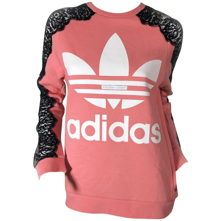 Stella McCartney For Adidas Originals Logo Sweatshirt W/. Lace Panel Inset For Sale