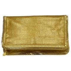 Stella McCartney Gold Linen Falabella Fold-Over Clutch Bag