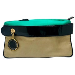 Stella McCartney Green and Tan Satan with Black Patent Trim Clutch / Wristlet