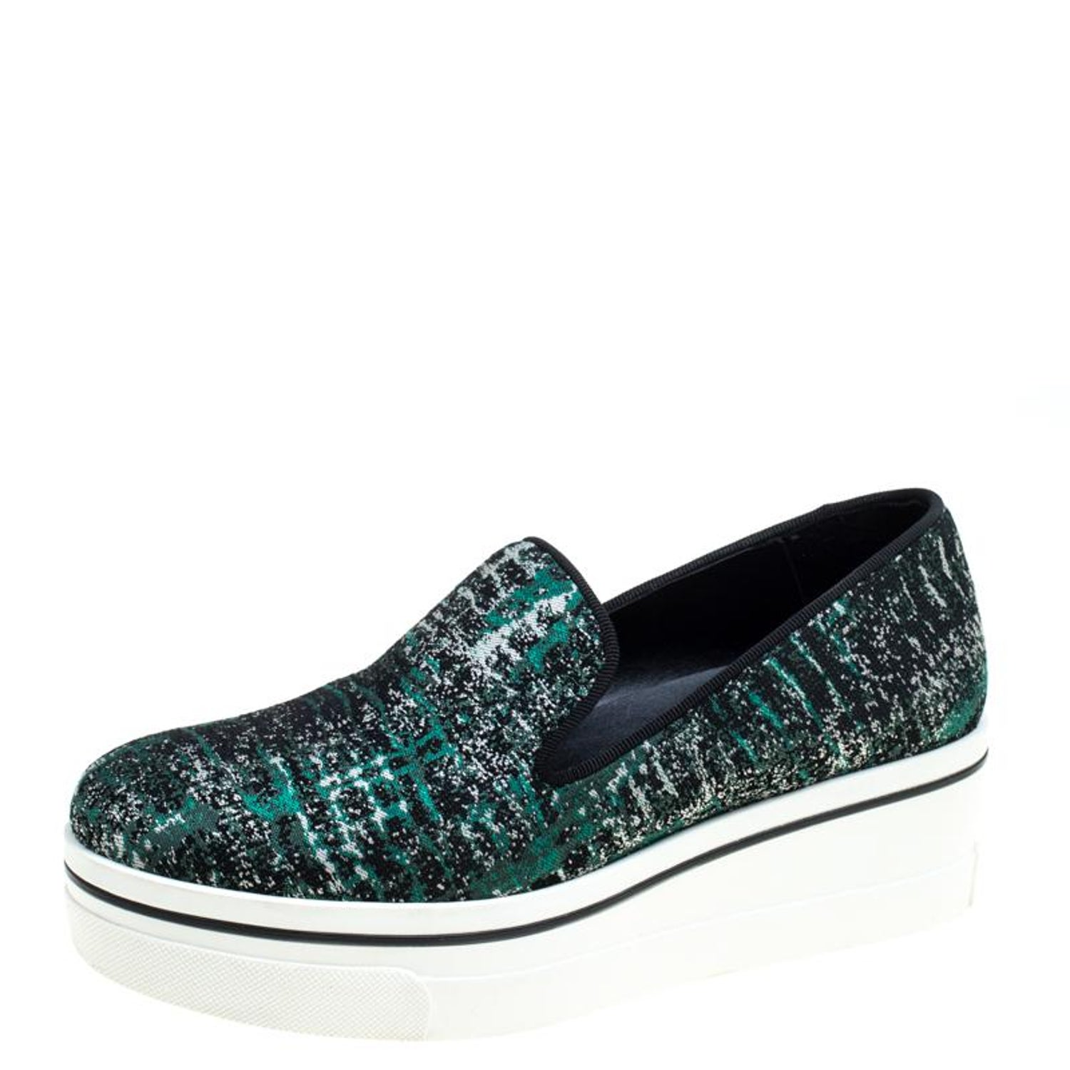 1e6c48afa48e Stella McCartney Green/Black Monochrome Fabric Platform Slip On Sneakers  Size 38 For Sale at 1stdibs