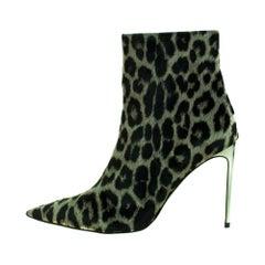 Stella McCartney Green/Black Print Velvet Pointed Toe Ankle Booties Size 41