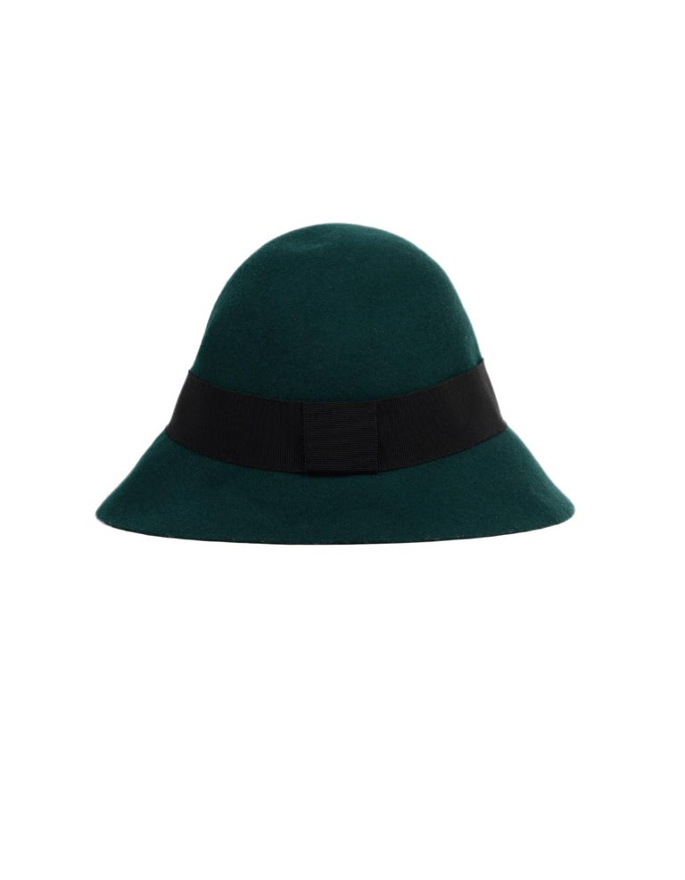 Black Stella McCartney Green Wool Hat NWT Sz 58 For Sale