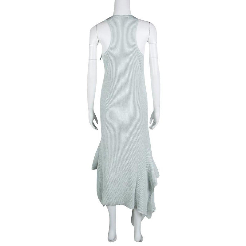 919149ed04b Stella McCartney Grey Ribbed Asymmetric Tank Dress M For Sale at 1stdibs