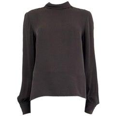 STELLA MCCARTNEY grey silk MOCK NECK Long Sleeve Blouse Shirt 40 S
