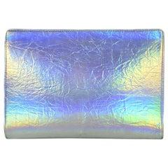 Stella McCartney Holographic Vegan Leather Zip-Top Clutch Bag rt. $590