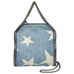 Stella McCartney Light Blue Denim Star Print Baby Falabella Bag