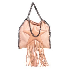 Stella McCartney Light Peach Faux Suede Falabella Star Fringed Shoulder Bag