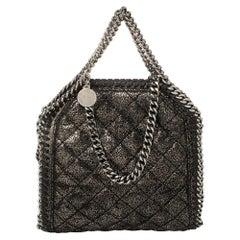 Stella McCartney Metallic Black Faux Suede Falabella Crossbody Bag