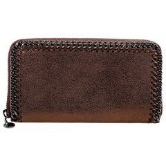 Stella McCartney Metallic Brown Faux Suede Falabella Zip Around Wallet