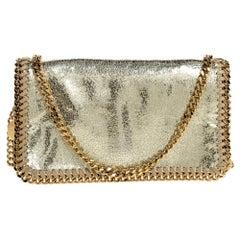 Stella McCartney Metallic Gold Faux Leather Falabella Flap Crossbody Bag