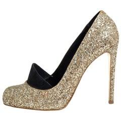 Stella McCartney Metallic Gold Glitter And Faux Suede Trim Bon Bon Pumps Size 40
