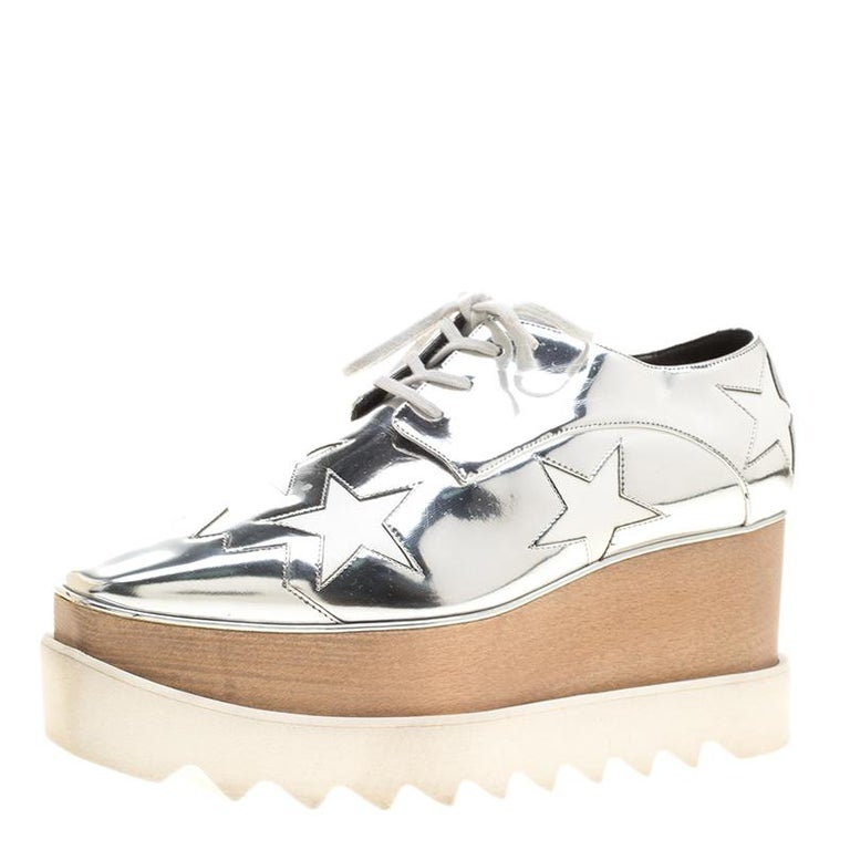 200228d5d2ff Stella McCartney Metallic Silver Faux Leather Indium Elyse Star ...