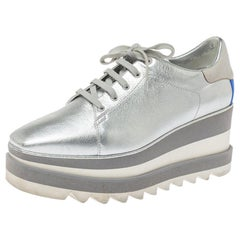 Stella McCartney Metallic Silver Faux Sneak Elyse Derby Sneaker s Size 37.5