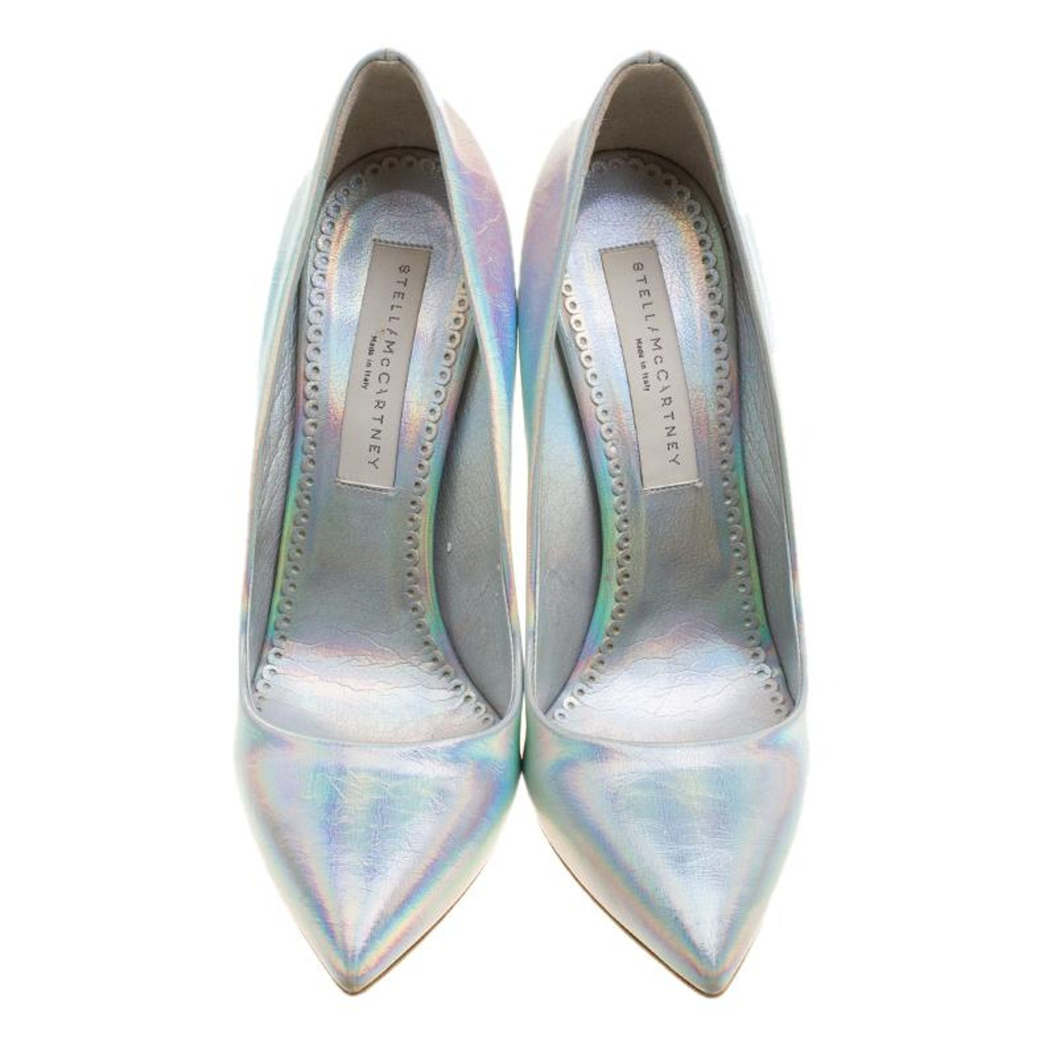 c4528bdb8214 Stella McCartney Metallic Silver Holographic Faux Leather Pointed Toe Pumps  Size For Sale at 1stdibs