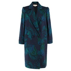 Stella McCartney Navy & Green Embroidered Wool Coat 44 IT