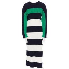 STELLA MCCARTNEY navy green white stripe ribbed virgin wool knit split sweater S