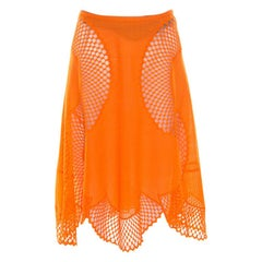 Stella McCartney Orange Cotton and Mesh Lace Scalloped A Line Skirt M