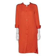 Stella McCartney Orange Silk Shirt Dress - Size US 4