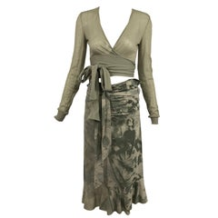 Stella McCartney Photo Print Sage Green Skirt and Wrap Sweater Set