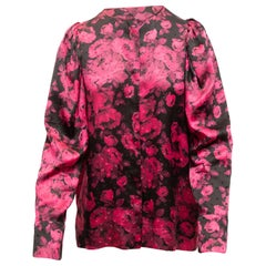 Stella McCartney Pink & Black Silk Floral Print Blouse