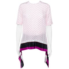 Stella McCartney Pink Monogram Print Silk Blouse S