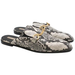 Stella McCartney Python-Effect Faux-Leather Backless Loafers - Size EU 41