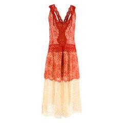 Stella McCartney Red & Nude Lace Sleeveless Dress M
