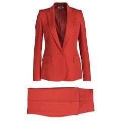 Stella McCartney Red Wool Ingrid Blazer and Cropped Pant Suit XS