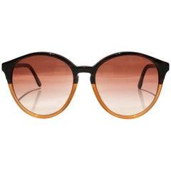 2000s Stella McCartney Round Amber and Beige Sunglasses