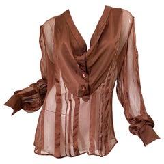 STELLA MCCARTNEY Rust Brown Silk Chiffon Avant Garde Semi Sheer Blouse Shirt Top