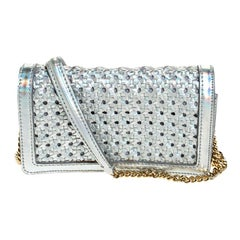 Stella McCartney Silver Holographic Woven Leather Flap Crossbody Bag