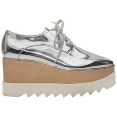 Stella McCartney Silver Metallic Platform Oxfords