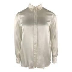 STELLA McCARTNEY Size 12 Cream Silk Satin Collar Blouse