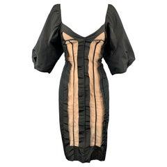 STELLA McCARTNEY Size 6 Black Taffeta Inside Out Balloon Sleeve Cocktail Dress