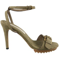 STELLA McCARTNEY Size 6 Green Vegan Suede Buckle Sandals