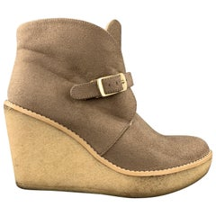 STELLA McCARTNEY Size 7 Taupe Faux Shearling Gum Wedge Boots