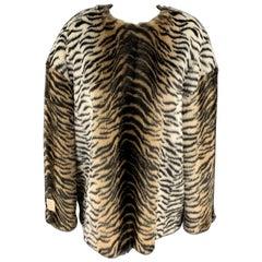 STELLA McCARTNEY Size M Black & Tan Tiger Print Faux Fur Oversized Sweater