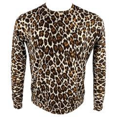STELLA McCARTNEY Size M Brown & Tan Leopard Wool Pullover