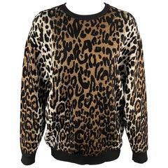 STELLA McCARTNEY Size S Black & Tan Leopard Viscose Blend Pullover