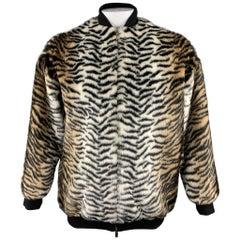 STELLA McCARTNEY Size S Black & Tan Tiger Faux Fur Jacket