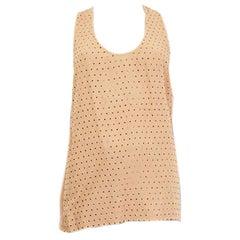 STELLA MCCARTNEY tan viscose BEADED Tank Top Shirt 38 XS